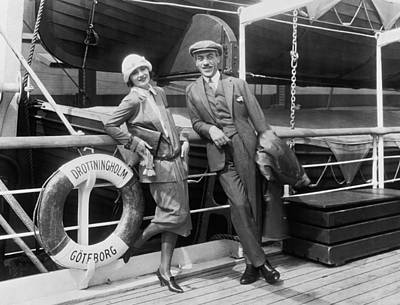 Greta Garbo Aboard Ship Poster by Underwood Archives