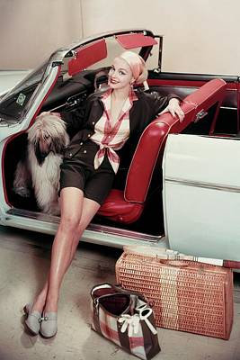 Gretchen Harris In A Car With A Dog Poster by Frances Mclaughlin-Gill