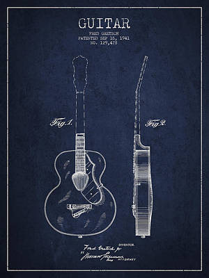 Gretsch Guitar Patent Drawing From 1941 - Blue Poster by Aged Pixel