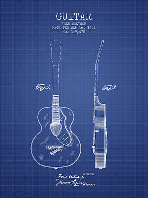 Gretsch Guitar Patent Drawing From 1941 - Blueprint Poster