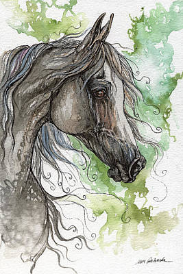 Grey Arabian Horse Watercolor Painting 1 Poster by Angel  Tarantella