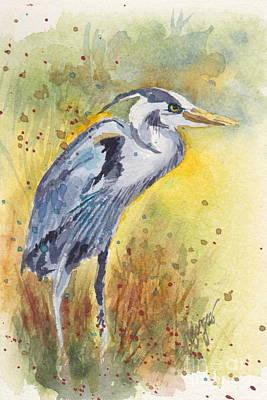 Grey Heron Langley Wa Poster