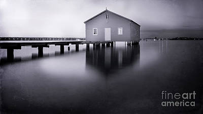 Grey Morning At The Boat Shed Poster by Kym Clarke