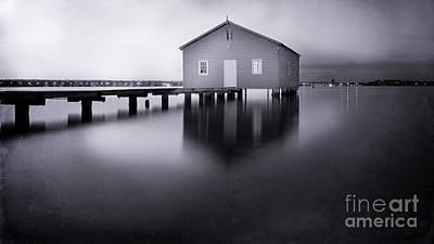Grey Morning At The Boat Shed Poster
