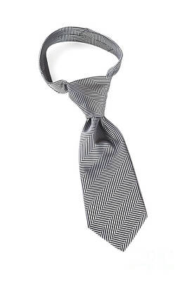 Grey Necktie With Windsor Knot Poster by Colin and Linda McKie