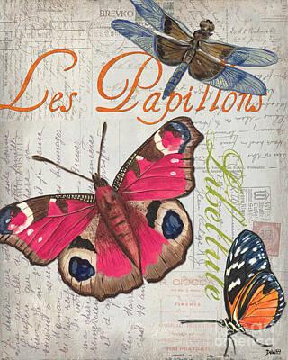 Grey Postcard Butterflies 1 Poster by Debbie DeWitt