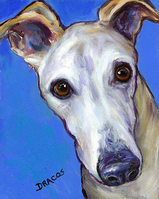 Greyhound Portrait On Blue Poster by Dottie Dracos