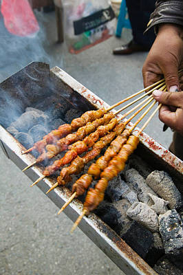Grilled Meat Snack Stand In A Street Poster