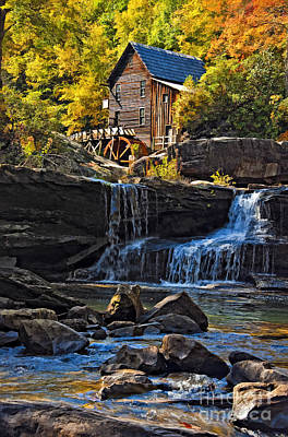 Grist Mill In Babcock State Park West Virginia Poster