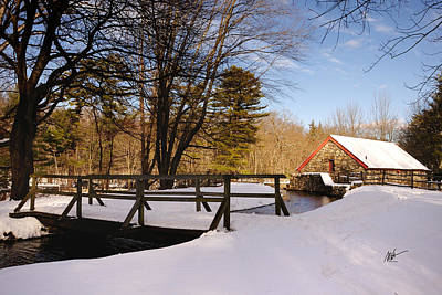 Grist Mill Stream At Christmas - Greeting Card Poster