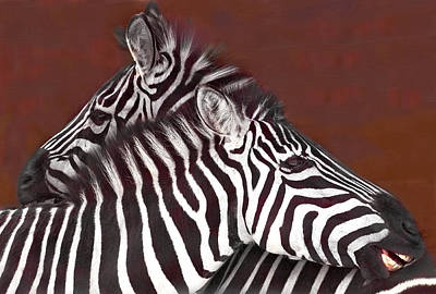 Grooming Zebras Poster by Chris  Kusik