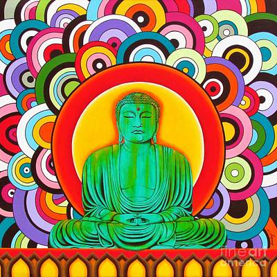 Poster featuring the painting Groovy Buddha by Joseph Sonday