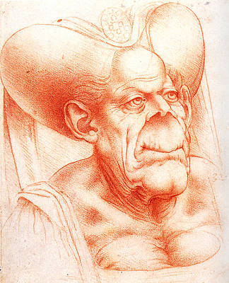 Grotesque Head Chalk Drawing Poster