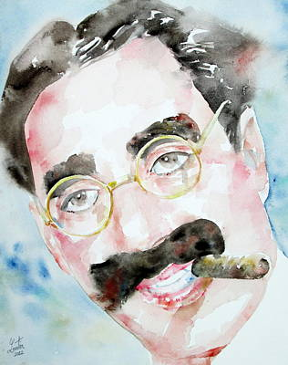 Groucho Marx Watercolor Portrait.2 Poster by Fabrizio Cassetta