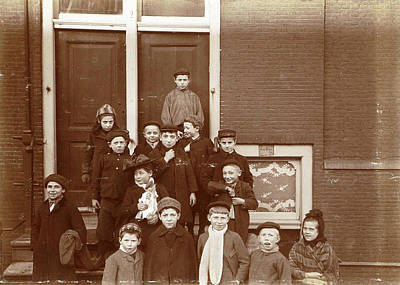 Group Of Children Posing On Stairs For Entrance Doors Poster
