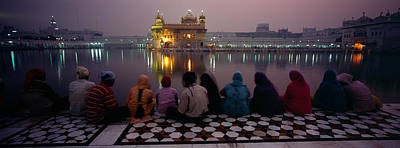 Group Of People At A Temple, Golden Poster by Panoramic Images