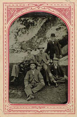 Group Portrait Of Five Men, Rocky Point Amusement Park Poster