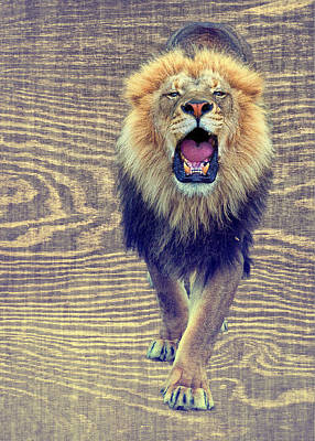 Growling Wood Grain Poster by Bill Tiepelman