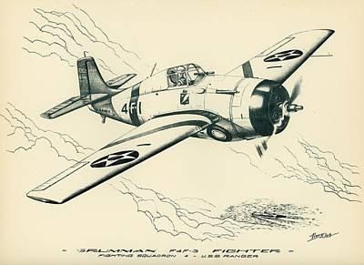 Grumman F4f-3 Wildcat Fighter Poster
