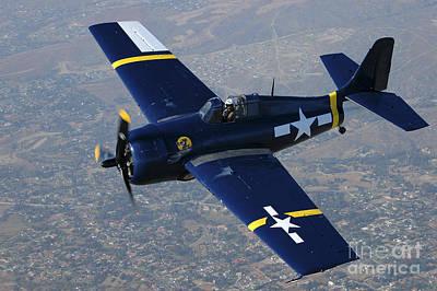 Grumman F4f Wildcat Flying Over Chino Poster