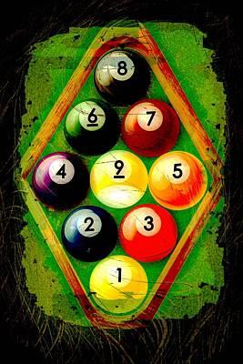 Grunge Style 9 Ball Rack Poster