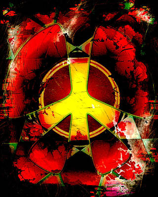 Grunge Style Peace Sign Poster