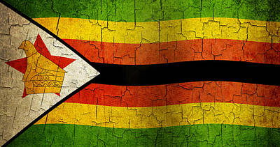 Grunge Zimbabwe Flag Poster by Steve Ball