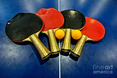 Grungy Ping-pong Bats Table Tennis Paddles Rackets Poster by Beverly Claire Kaiya