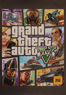 Gta V Box Art Cover Colored Drawing Poster by Nikolai Jonasson