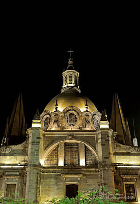 Poster featuring the photograph Guadalajara Cathedral At Night by David Perry Lawrence