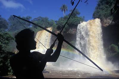 Guarani Indian In Iguazu Waterfalls Poster by Avampini - Vwpics
