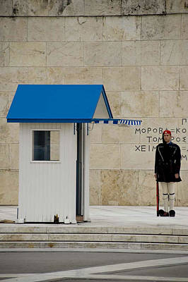 Guard At Tomb Of Unknown Soldier In Athens Poster