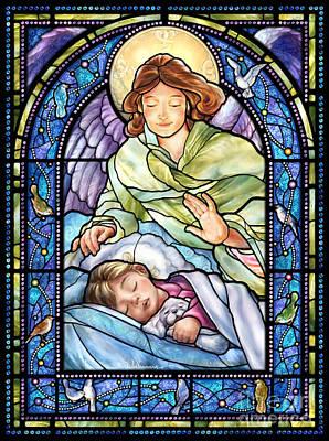 Guardian Angel With Sleeping Girl Poster