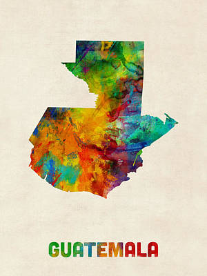 Guatemala Watercolor Map Poster by Michael Tompsett