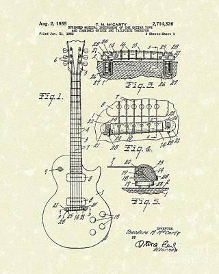 Guitar 1955 Patent Art Poster