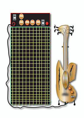 Poster featuring the digital art Guitar And Amp by Marvin Blaine