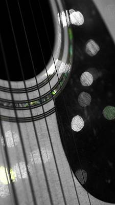 Guitar Bokeh Reflection Poster by Nalinne Jones