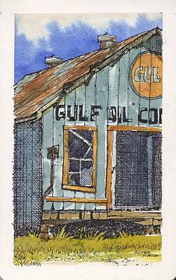Poster featuring the mixed media Gulf Oil Warehouse 2 by Tim Oliver