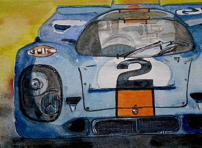 Poster featuring the painting Gulf Porsche by Anna Ruzsan