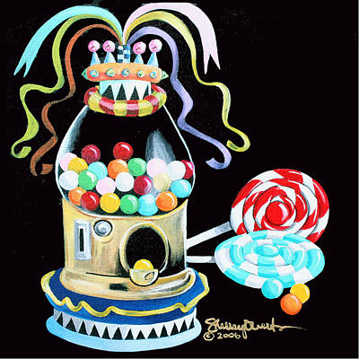 Gumball Machine And The Lollipops Poster by Shelley Overton
