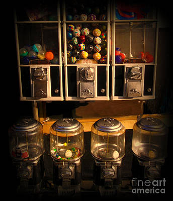 Gumball Memories - Row Of Antique Vintage Vending Machines - Iconic New York City Poster by Miriam Danar