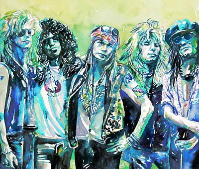 Guns N' Roses - Watercolor Portrait Poster by Fabrizio Cassetta