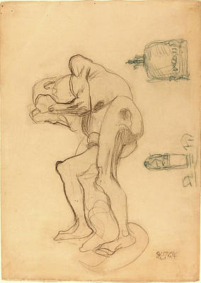Gustav Klimt, Study Of A Nude Old Woman Clenching Her Fists Poster
