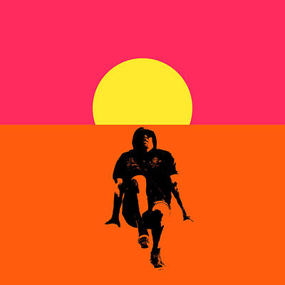 Guy Floating On Background Of Sunset Poster