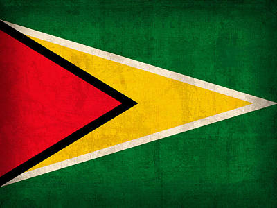 Guyana Flag Vintage Distressed Finish Poster by Design Turnpike