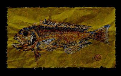Gyotaku - Golden Tilefish - Clown Of The Sea - Blanquillo Poster