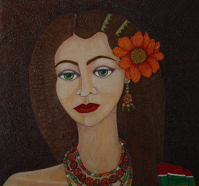 Gypsy With Green Eyes Poster by Madalena Lobao-Tello