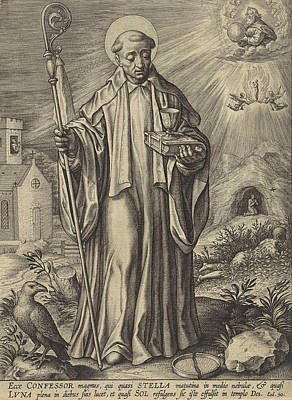 H Benedict Of Nursia, Hieronymus Wierix Poster by Hieronymus Wierix