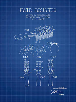 Hair Brush Patent From 1966 - Blueprint Poster by Aged Pixel