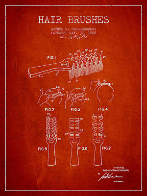 Hair Brush Patent From 1966 - Red Poster by Aged Pixel